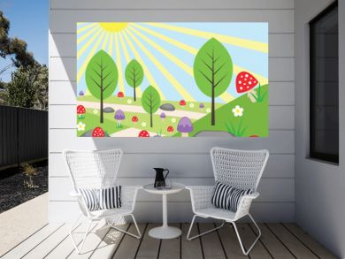 Cartoon bright landscape with mushrooms