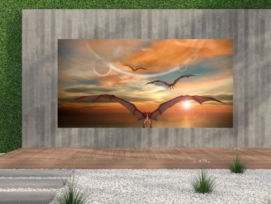 Fantasy Scene With Flying Dragons