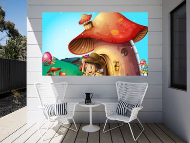 A boy at his mushroom house