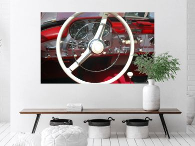vintage car steeling wheel and dashboard