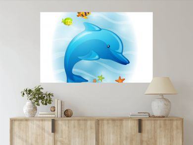 Vector Illustration of a Cartoon Dolphin
