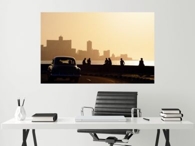 People and skyline of La Habana, Cuba, at sunset