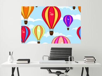 Colorful seamless pattern of hot air balloons