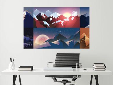 Set background mountain landscape in flat style