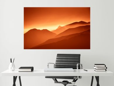 A beautiful, colorful, abstract mountain landscape in a red tonality. Decorative, artistic look.