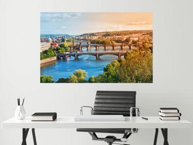 Prague Bridges in the Summer on the Sunset. Czech Republic.