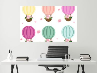 Air balloons with flowers. Kids decor in different colors Vector illustration