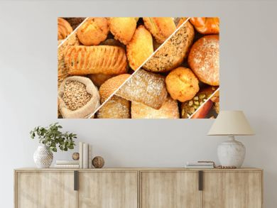 Panoramic set of fresh bread products.