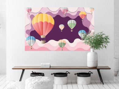 Colorful balloon on violet background - International balloon festival for artwork - Illustration