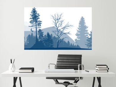 grey panorama with forest in mountains