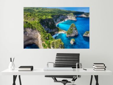 Aerial view at sea and rocks. Turquoise water background from top view. Summer seascape from air. Atuh beach, Nusa Penida, Bali, Indonesia. Travel - image