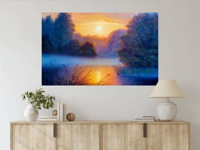 Morning landscape with tree and river. Oil painting forest landscape.