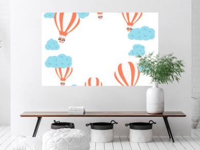 Frame with colorful hot air balloons in the cloudy sky. Cute vector baby doodle. Vector concept background for children poster or card.