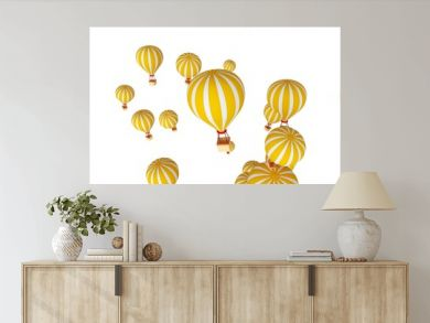 Cartoon fire hot air balloon with white and yellow color isolated in white background.