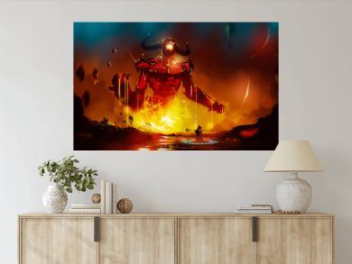 Digital illustration painting design style a wizard summoning big monster from lava.