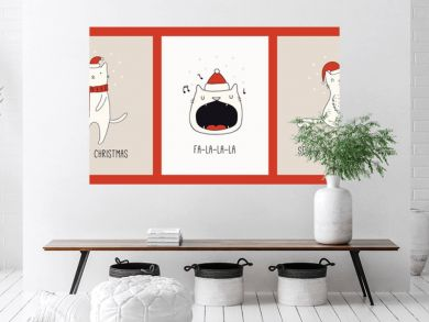 Collection of hand drawn Christmas cards with cute cats in Santa Claus hats, quotes. Vector illustration. Line drawing. Design concept for holiday print, invite, banner, gift tag.