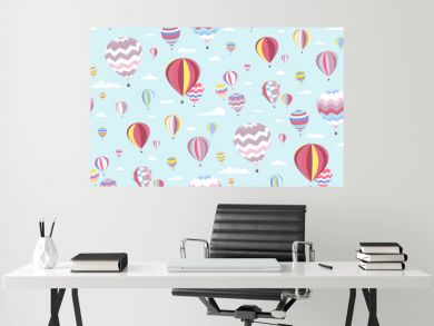 Hot air balloons Seamless pattern. Creative print in light (pastel) colors. Perfect template for Wallpaper, children's interior design, fabrics, banners, posters, postcards... Vector illustration.