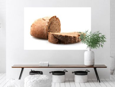 Fresh black sliced bread on white background. Rye bread is a type of bread made with various proportions of flour from rye grain.
