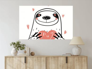 Hand drawn vector illustration of a cute funny sloth holding a heart, with text Love you. Isolated objects on white background. Line drawing. Design concept for kids Valentines day card, invite.