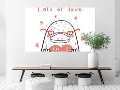 Hand drawn vector illustration of a cute funny platypus in glasses, holding a heart, with text Lots of love. Isolated objects on white. Line drawing. Design concept kids Valentines day card, invite.