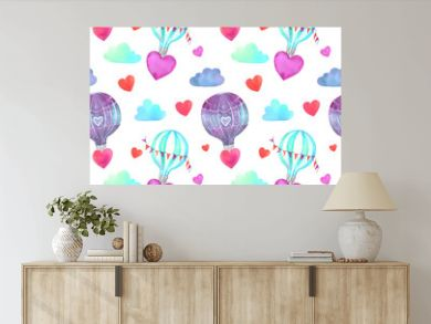 Seamless pattern with hand drawn watercolor balloons, hearts, clouds in pastel colors. Ideal for fabric cloth and wrapping paper. For the festive print for Valentine's Day, Birthday, Wedding, Mother's