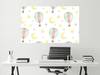 Cartoon hot air balloon with garlands in the sky among the moon and stars seamless pattern