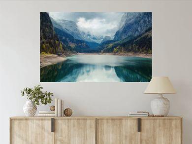 Alpine lake with dramatic sky and mountains. Tirol, Austria