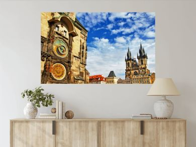 Prague, Czech Republic - view of square and astronomical clock
