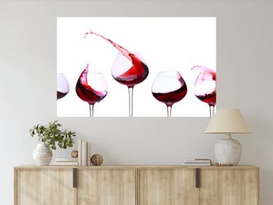 Red wine isolated on white
