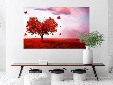 Autumn landscape  with heart shape tree