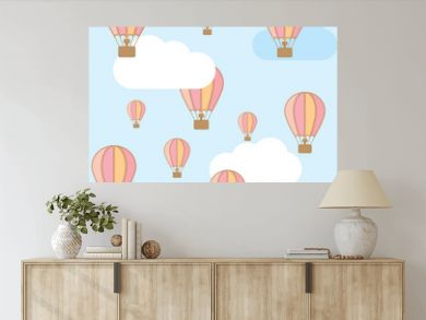 Pink hot air balloon in the sky