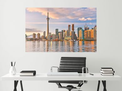 The reflection of Toronto skyline at dusk in Ontario, Canada.