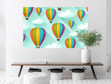 Seamless travel pattern with hot air balloons. Background made without clipping mask. Easy to use for backdrop, textile, wrapping paper