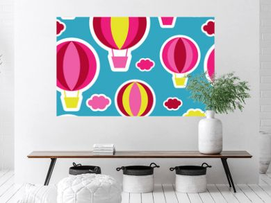 Party balloons in the sky - seamless background. Print. Repeating background. Cloth design, wallpaper.