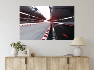 illuminated race track road with speed motin blur