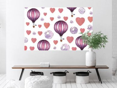 Watercolor pattern with air baloon