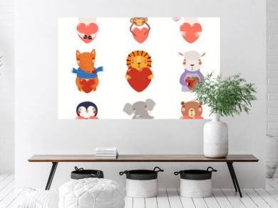 Big Valentines day set with cute funny animals holding hearts. Isolated objects on white background. Hand drawn vector illustration. Scandinavian style flat design. Concept for card, children print.
