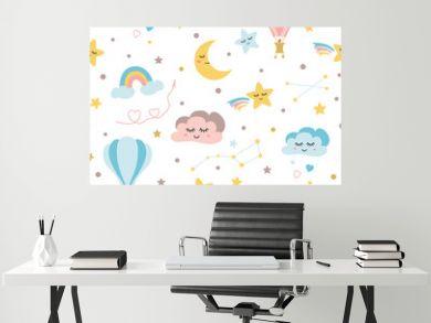 Seamless baby pattern sky elements moon cloud rainbow hot balloon stars Kids texture Vector