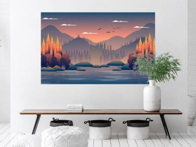 Autumn forest landscape with mountain and sky background