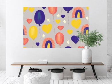 Kids background Rainbows hearts stars and balloons. Seamless hand drawn cute children illustration background. Pink yellow blue kids icons painted style. Use for fabric, gift wrap, birthday