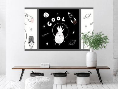 Collection of cards, posters with cute funny animals, pineapple astronauts, rocket, planets, space quotes. Hand drawn childish vector illustration. Line drawing. Design concept for children print.
