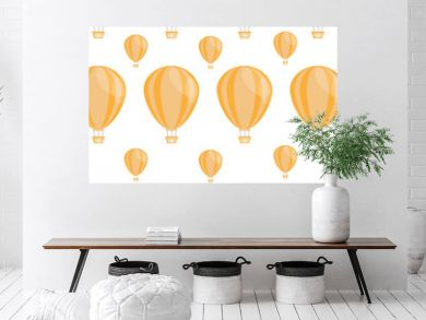 Seamless pattern with colourful hot air ballons in vector