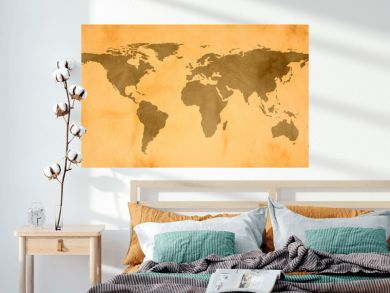 world map on vintage paper