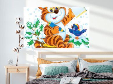tiger and bird