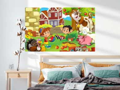 The farm illustration for kids -  happy and educational