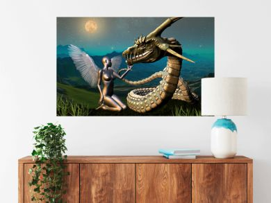 Dragon & Angel - Fantasy Scene