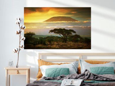Mount Kilimanjaro. Savanna in Amboseli, Kenya