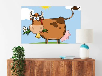 Brown Dairy Cow With Flower In Mouth On A Meadow