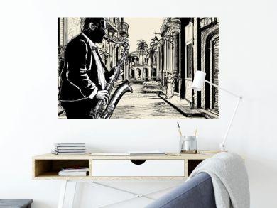 saxophonist in a street of Cuba