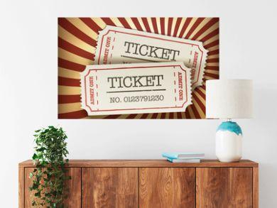 Cinema tickets on retro rays background, vector.
